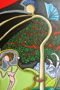 The foolish world in a madness garde detail 1n